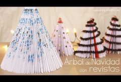 Cómo hacer un árbol de Navidad con una revista / Manualidades en Navidad