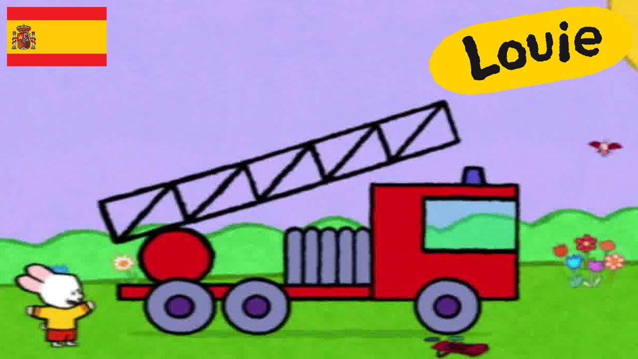 🎯 Louie dibújame un camión de bomberos 🚀 - Videos Infantiles