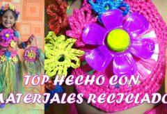 Disfraz de Hawaiana  con material reciclado / Disfraces para niñas y niños