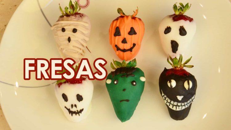Fresas cubiertas de chocolate para Halloween o el Día de Muertos