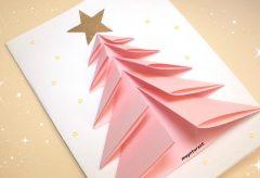 Cómo hacer una bonita tarjeta de felicitación navideña / Manualidades en Navidad